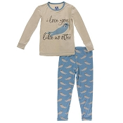 KicKee Pants Print Long Sleeve Pajama Set - Blue Moon Sea Otter