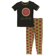 KicKee Pants Short Sleeve Pajama Set - Grasshopper Watermelon