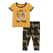 KicKee Pants Print Short Sleeve Pajama Set - Zebra Tiger