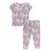 KicKee Pants Print Short Sleeve Pajama Set - Feather Indian Elephant (Size 10 Years)