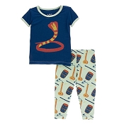 KicKee Pants Print Short Sleeve Pajama Set - Pistachio Indian Instruments (8 Years)