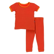KicKee Pants Basic Short Sleeve Pajama Set - Poppy Marigold (8 Years)