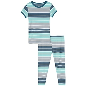 KicKee Pants Short Sleeve Pajama Set - Sport Stripe