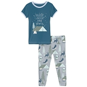 KicKee Pants Short Sleeve Pajama Set - Pearl Blue Wilderness Guide