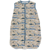 Kickee Pants Quilted Sleeping Bag - Print Quilted Sleeping Bag in Burlap Shark/Oceanography Stripe