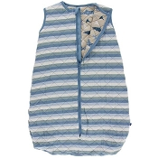 Kickee Pants Quilted Sleeping Bag - Print Quilted Sleeping Bag in Oceanography Stripe/Burlap Shark