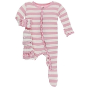 KicKee Pants Essential Classic Ruffle Footie - Lotus Stripe - Size 0-3 Months (SNAPS)