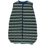 Kickee Pants Quilted Sleeping Bag - Print Quilted Sleeping Bag in Botany Grasshopper Stripe/Navy Leaf Lattice
