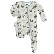 KicKee Pants Footie - Natural Forest Animals (Zipper)