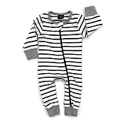 Little Bipsy Collection 2-Way Zip Romper - Black Stripe