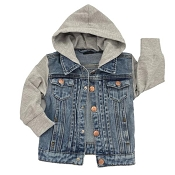 Little Bipsy Hooded Denim Jacket - Grey