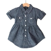 Little Bipsy Collection Denim Swoop Dress - Dark Wash