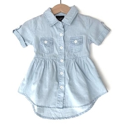 Little Bipsy Collection Denim Swoop Dress - Light Wash