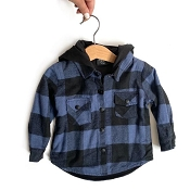Little Bipsy Hooded Flannel - Blue & Black