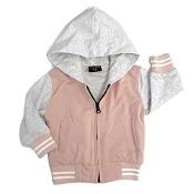 Little Bipsy Collection Hooded Sports Jacket - Blush/Grey