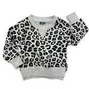 Little Bipsy Collection Pullover - Grey Leopard