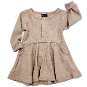 Little Bipsy Collection Ribbed Dress - Taupe