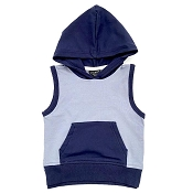 Little Bipsy Sleeveless Hoodie - Ash Blue + Navy (Size 3-6 Months)  *CLEARANCE*
