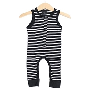 Little Bipsy Collection Sleeveless Stripe Snap Romper - Black and White