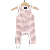 Little Bipsy Collection Sleeveless Stripe Snap Romper - Blush and White