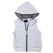 Little Bipsy Collection Zip Hooded Vest - Soft Grey (Size 3-6 months)