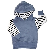 Little Bipsy Collection Stripe Hoodie - Ash Blue