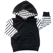 Little Bipsy Collection Stripe Hoodie - Black *CLEARANCE*