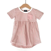 Little Bipsy Collection Stripe Swoop Dress - Blush