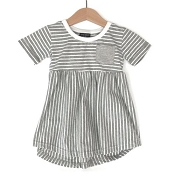 Little Bipsy Collection Stripe Swoop Dress - Grey