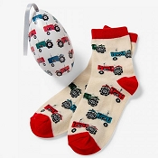 Little Blue House Kids Socks in Egg - Farm Tractors (Size 4-7)