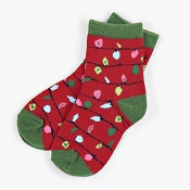 Little Blue House Red Northern Lights Socks in Ball Ornament