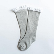 Little Stocking Co. Lace Top Knee High Socks - Grey with White Lace