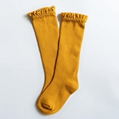 Little Stocking Co. Lace Top Knee High Socks - Marigold