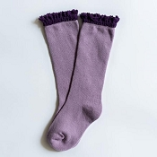 Little Stocking Co. Lace Top Knee High Socks - Purple with Plum Lace