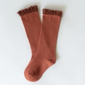 Little Stocking Co. Lace Top Knee High Socks - Rust
