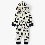 Little Blue House Baby Hooded Fleece Jumpsuit - Black Bear