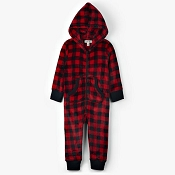 Little Blue House Kids Hooded Fleece Jumpsuit - Buffalo Plaid
