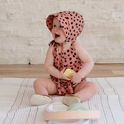 Little & Lively Romper - Clay Dot (Size 0-6 Months)