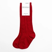 Little Stocking Co. Cable Knit Knee High Socks - Cherry