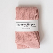 Little Stocking Co. Cable Knit Tights - Blush Pink