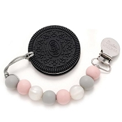 *Loulou Lollipop Cookie Teether with Holder - Rose & Grey