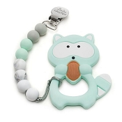 *Loulou Lollipop Raccoon Mint Silicone Teether Holder Set