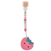*Loulou Lollipop Strawberry Silicone Teether with Holder