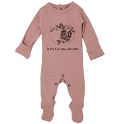L'ovedbaby Organic Graphic Footie - Mauve Pomegranate