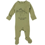 L'ovedbaby Organic Graphic Footie - Sage Beans