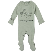 L'ovedbaby Organic Graphic Footie - Seafoam Peas