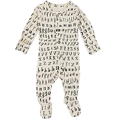 L'ovedbaby Organic Jumpsuit Footie - Beige Letters