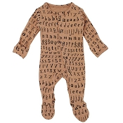 L'ovedbaby Organic Jumpsuit Footie - Nutmeg Letters