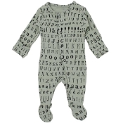 L'ovedbaby Organic Jumpsuit Footie - Seafoam Letters