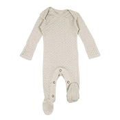 L'ovedbaby Pointelle Lap-Shoulder Baby Footie - Stone